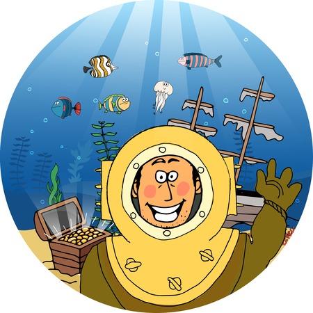 deep sea diver: Diver with treasure chest