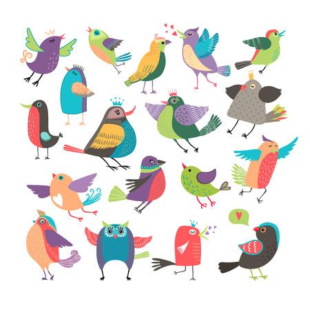 blue bird: Cute cartoon birds