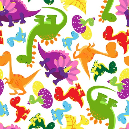 t rex: Seamless background pattern of baby dinosaurs