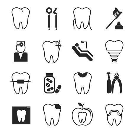 歯科用のアイコンを設定  イラスト・ベクター素材