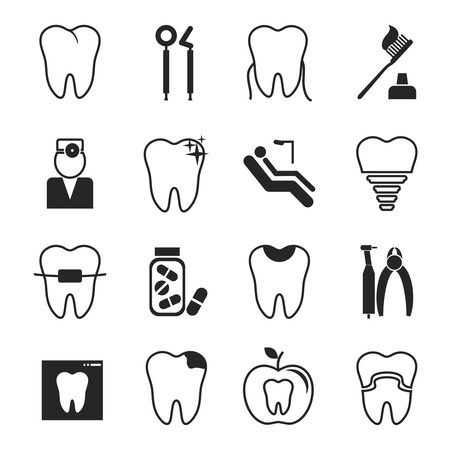 root canal: Dental icons set