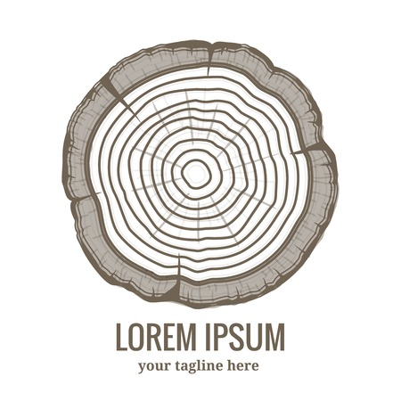 rings on a tree: Annual tree growth rings logo icon
