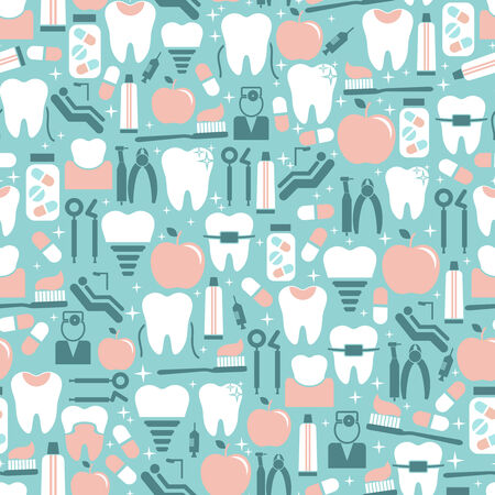 Dental Care Graphics on Blue Background Vector