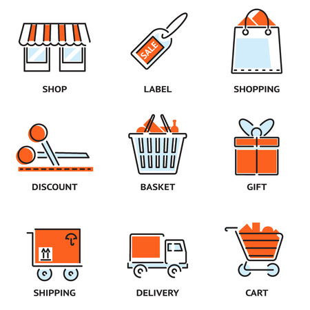 Set of shopping and retail outline vector icons Vector