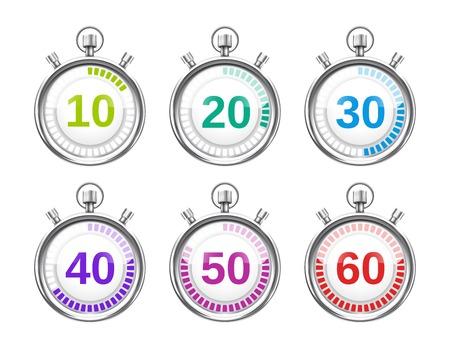 さまざまな時間帯と六つのカラフルなストップウォッチ
