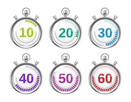 Six Colorful Stopwatches with Varying Times 向量圖像