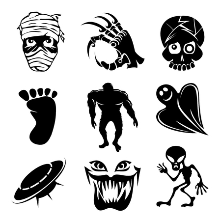 ghouls: Set of ghost  ghouls and alien icons