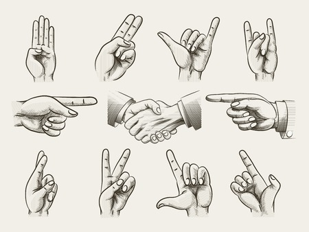 two point: Set of vintage style hand gestures