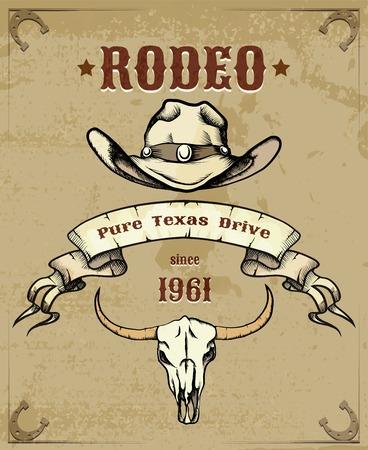 rodeo americano: Gráfico temáticas del rodeo con el sombrero de vaquero y cráneo Vectores
