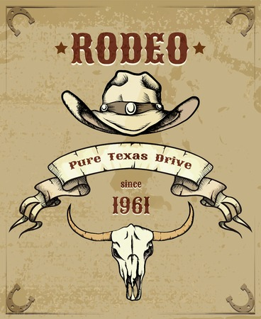 Rodeo thema grafische met cowboyhoed en schedel Stock Illustratie