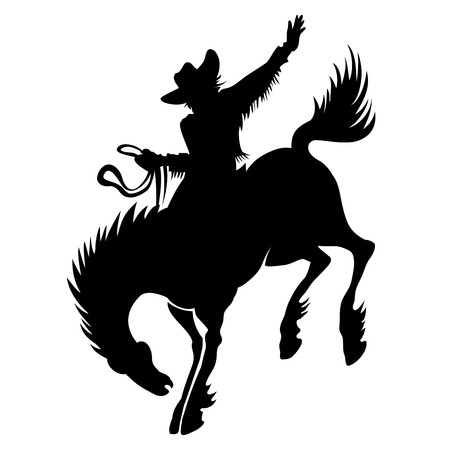 bucking horse: Cowboy at rodeo silhouette