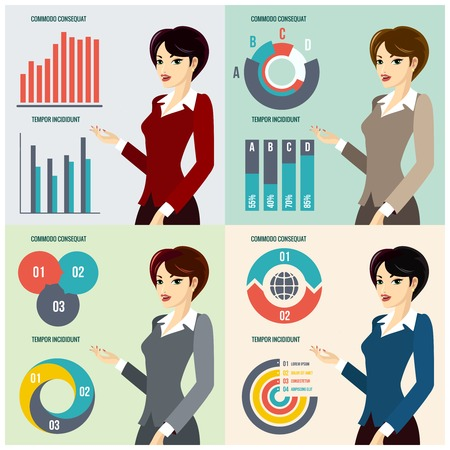 planning diagram: Business Woman Presenting Proposal Illustration
