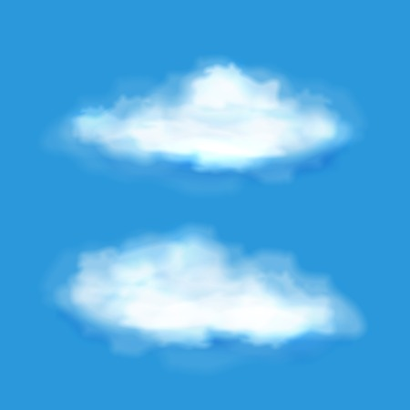 clouding: Vector transparent clouds on a blue sky