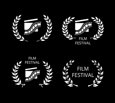 film: Four Film Festival Symbols and Logos on Black Illustration