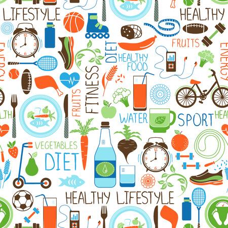 alimentacion balanceada: Deporte, dieta y patrón de fitness Vectores