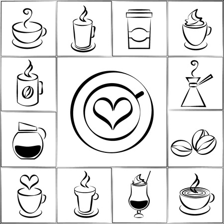 energising: Set of freehand doodle sketch coffee icons Illustration