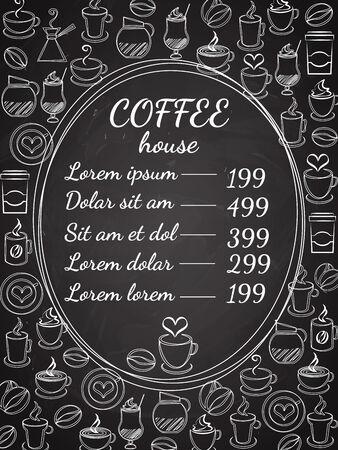 latte macchiato: Coffee house chalkboard menu