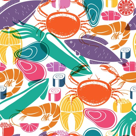 Fish and seafood background seamless pattern Illustration