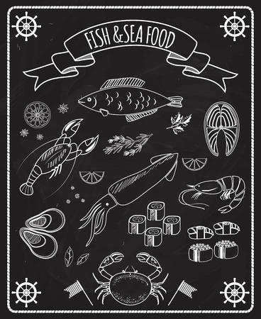 Fish and seafood blackboard vector elements Illustration