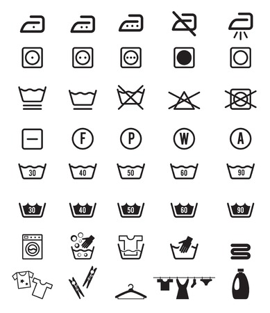 dirty clothes: Laundry Washing Instruction Icon Symbols