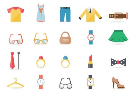Various Clothing and Accessory Themed Graphics Illustration