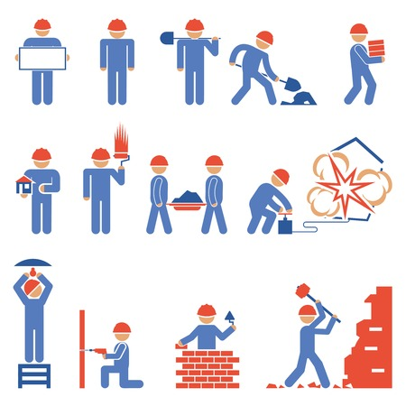 skilled labour: Various Building and Demolition Character Icons Illustration