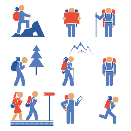 backpackers: Set of colored vector hiking icons