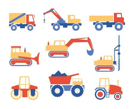 excavate: Various Trucks and Construction Machinery Graphics