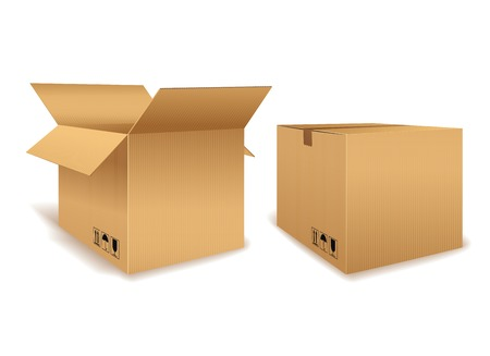 Open and Closed Cardboard Box 向量圖像