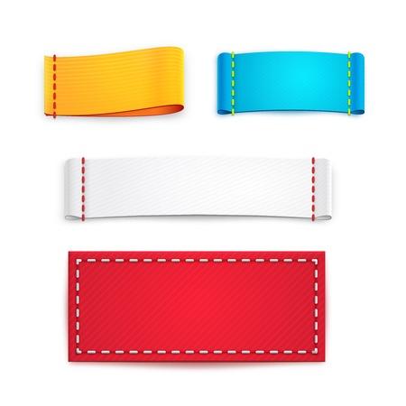 etiquetas de ropa: Las etiquetas de tela de colores o en blanco Insignias