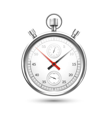 elapsed: Silver Stopwatch Graphic Hovering on White