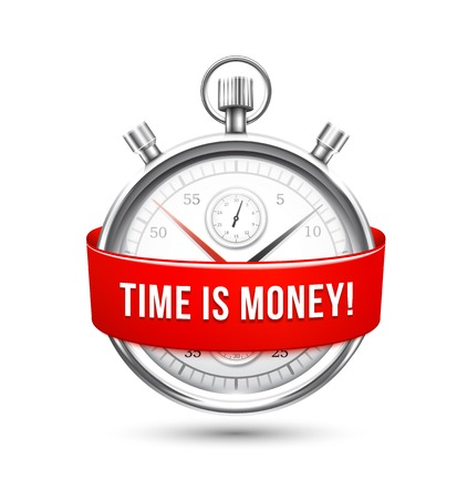 stating: Stopwatch with Red Banner Stating Time is Money