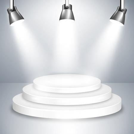 spot lights: White Stage Platform Illuminated by Spotlights