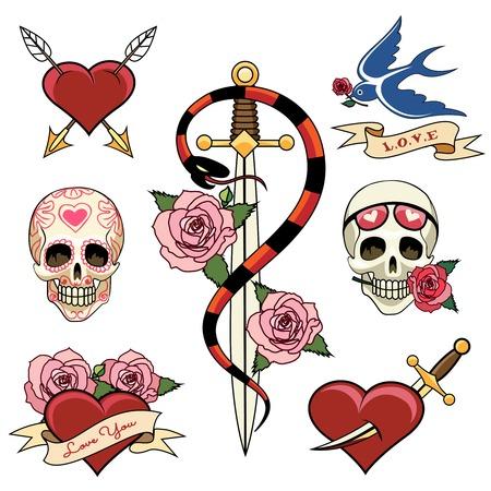 다양한 심장 두개골과 단도 문신 그래픽