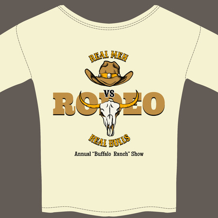 rodeo americano: Blanco Rodeo T-shirt con Gráficos