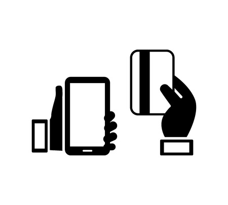 cardholder: mobile phone and credit card icons Illustration