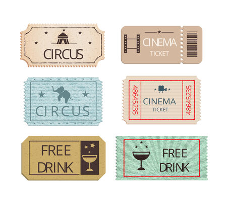 big top tent: Vintage cinema  circus and party tickets set Illustration