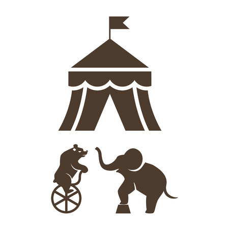 circus tent: Set of silhouette circus icons