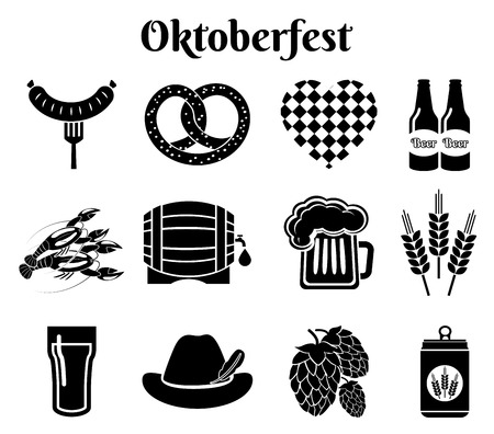 Oktoberfest iconen Stock Illustratie