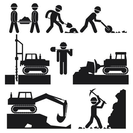maquinaria pesada: Colección de iconos negros Construcción Movimiento de tierras
