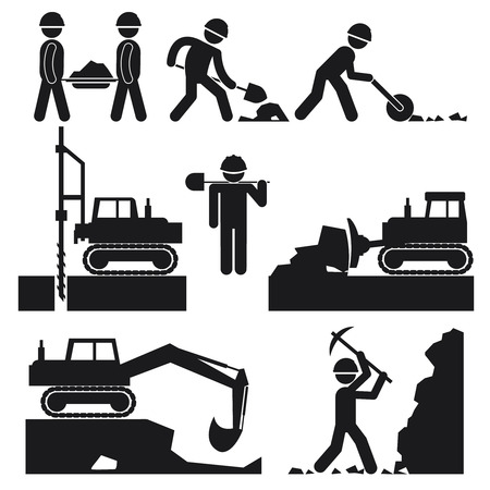 plough machine: Collection of Black Construction Earthworks Icons
