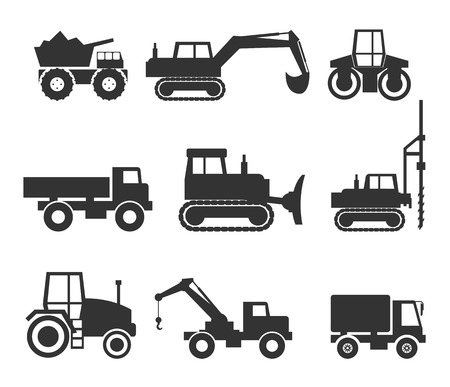 Construction Machinery Icon Symbol Graphics Vettoriali