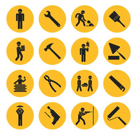 tradesmen: Yellow Circle Construction and Building Icons Illustration
