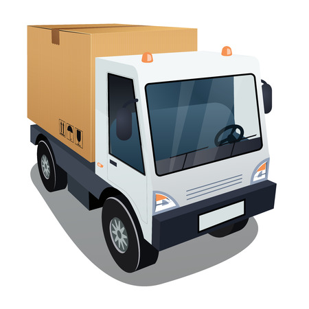 removals boxes: Delivery truck with a big box Illustration