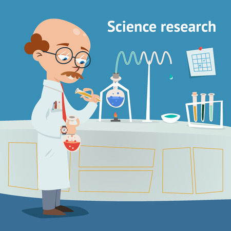 experimentation: Scientist doing research in a laboratory Illustration