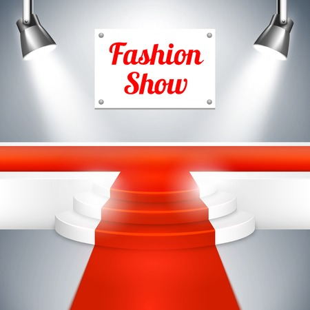 high fashion: Fashion Show catwalk with a red carpet Illustration