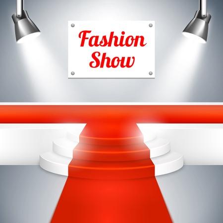venue: Sfilata di moda in passerella con un tappeto rosso