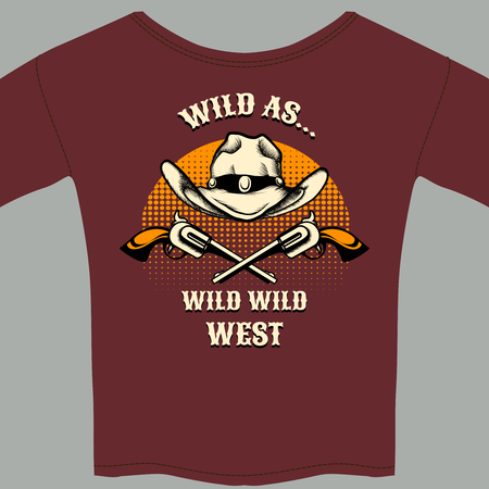 audacious: Wild West Theme Tee Shirt with Hat and Gun Graphic