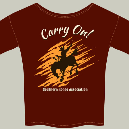 reins: Tee Shirt with Cowboy Riding Horse Rodeo Graphic