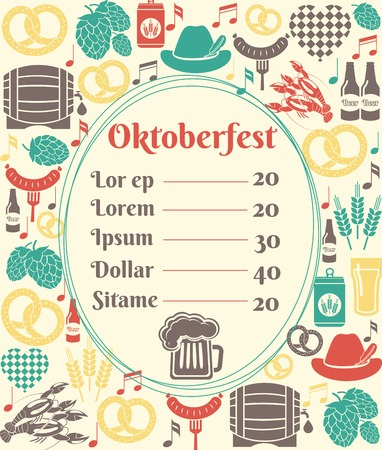 oval  alcohol: Oktoberfest menu template Illustration